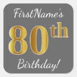 [ Thumbnail: Gray, Faux Gold 80th Birthday + Custom Name Sticker ]