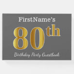 [ Thumbnail: Gray, Faux Gold 80th Birthday Party + Custom Name Guest Book ]