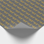 [ Thumbnail: Gray, Faux Gold 80th (Eightieth) Event Wrapping Paper ]
