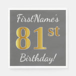 [ Thumbnail: Gray, Faux Gold 81st Birthday + Custom Name Napkin ]