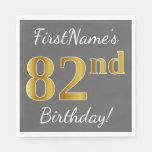 [ Thumbnail: Gray, Faux Gold 82nd Birthday + Custom Name Paper Napkin ]