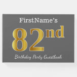 [ Thumbnail: Gray, Faux Gold 82nd Birthday Party + Custom Name Guest Book ]
