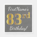 [ Thumbnail: Gray, Faux Gold 83rd Birthday + Custom Name Paper Napkin ]