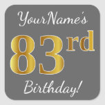 [ Thumbnail: Gray, Faux Gold 83rd Birthday + Custom Name Sticker ]