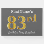[ Thumbnail: Gray, Faux Gold 83rd Birthday Party + Custom Name Guest Book ]