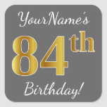 [ Thumbnail: Gray, Faux Gold 84th Birthday + Custom Name Sticker ]