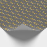 [ Thumbnail: Gray, Faux Gold 84th (Eighty-Fourth) Event Wrapping Paper ]