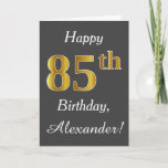[ Thumbnail: Gray, Faux Gold 85th Birthday + Custom Name Card ]