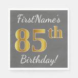 [ Thumbnail: Gray, Faux Gold 85th Birthday + Custom Name Napkin ]