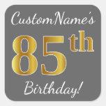[ Thumbnail: Gray, Faux Gold 85th Birthday + Custom Name Sticker ]