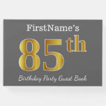 [ Thumbnail: Gray, Faux Gold 85th Birthday Party + Custom Name Guest Book ]