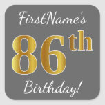 [ Thumbnail: Gray, Faux Gold 86th Birthday + Custom Name Sticker ]