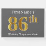 [ Thumbnail: Gray, Faux Gold 86th Birthday Party + Custom Name Guest Book ]