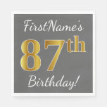 [ Thumbnail: Gray, Faux Gold 87th Birthday + Custom Name Paper Napkin ]