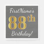 [ Thumbnail: Gray, Faux Gold 88th Birthday + Custom Name Paper Napkin ]