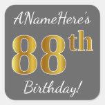 [ Thumbnail: Gray, Faux Gold 88th Birthday + Custom Name Sticker ]