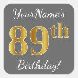 [ Thumbnail: Gray, Faux Gold 89th Birthday + Custom Name Sticker ]