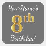 [ Thumbnail: Gray, Faux Gold 8th Birthday + Custom Name Sticker ]