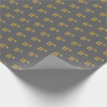 [ Thumbnail: Gray, Faux Gold 8th (Eighth) Event Wrapping Paper ]