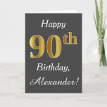 [ Thumbnail: Gray, Faux Gold 90th Birthday + Custom Name Card ]