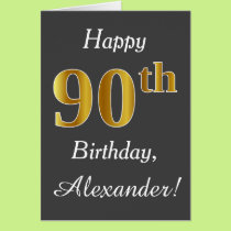 Gray, Faux Gold 90th Birthday   Custom Name Card