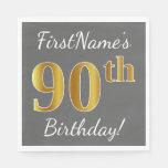 [ Thumbnail: Gray, Faux Gold 90th Birthday + Custom Name Paper Napkin ]