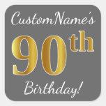 [ Thumbnail: Gray, Faux Gold 90th Birthday + Custom Name Sticker ]
