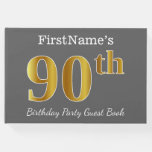 [ Thumbnail: Gray, Faux Gold 90th Birthday Party + Custom Name Guest Book ]