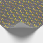 [ Thumbnail: Gray, Faux Gold 90th (Ninetieth) Event Wrapping Paper ]