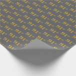 [ Thumbnail: Gray, Faux Gold 91st (Ninety-First) Event Wrapping Paper ]