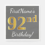 [ Thumbnail: Gray, Faux Gold 92nd Birthday + Custom Name Napkin ]
