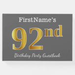 [ Thumbnail: Gray, Faux Gold 92nd Birthday Party + Custom Name Guest Book ]