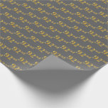 [ Thumbnail: Gray, Faux Gold 92nd (Ninety-Second) Event Wrapping Paper ]