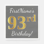 [ Thumbnail: Gray, Faux Gold 93rd Birthday + Custom Name Paper Napkin ]