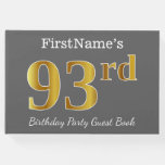 [ Thumbnail: Gray, Faux Gold 93rd Birthday Party + Custom Name Guest Book ]