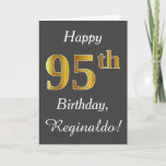[ Thumbnail: Gray, Faux Gold 95th Birthday + Custom Name Card ]