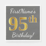[ Thumbnail: Gray, Faux Gold 95th Birthday + Custom Name Paper Napkin ]