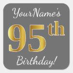 [ Thumbnail: Gray, Faux Gold 95th Birthday + Custom Name Sticker ]