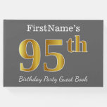 [ Thumbnail: Gray, Faux Gold 95th Birthday Party + Custom Name Guest Book ]