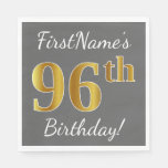 [ Thumbnail: Gray, Faux Gold 96th Birthday + Custom Name Napkin ]