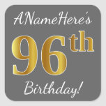 [ Thumbnail: Gray, Faux Gold 96th Birthday + Custom Name Sticker ]