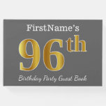 [ Thumbnail: Gray, Faux Gold 96th Birthday Party + Custom Name Guest Book ]