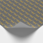 [ Thumbnail: Gray, Faux Gold 96th (Ninety-Sixth) Event Wrapping Paper ]