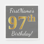 [ Thumbnail: Gray, Faux Gold 97th Birthday + Custom Name Paper Napkin ]