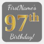 [ Thumbnail: Gray, Faux Gold 97th Birthday + Custom Name Sticker ]