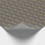 [ Thumbnail: Gray, Faux Gold 97th (Ninety-Seventh) Event Wrapping Paper ]