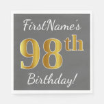 [ Thumbnail: Gray, Faux Gold 98th Birthday + Custom Name Napkin ]