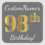 [ Thumbnail: Gray, Faux Gold 98th Birthday + Custom Name Sticker ]