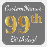 [ Thumbnail: Gray, Faux Gold 99th Birthday + Custom Name Sticker ]