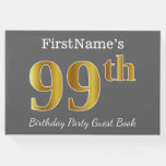 [ Thumbnail: Gray, Faux Gold 99th Birthday Party + Custom Name Guest Book ]